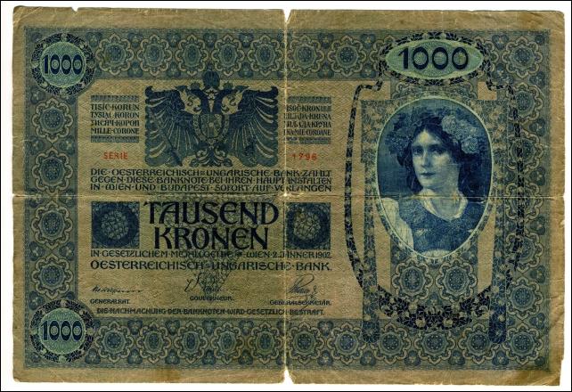 BANKOVEC ZA 1000 KRON<br>1902<br>12,8 x 19,1 cm<br>Inv. št.: Nm 5947<br>Foto: Branko Babić<br>