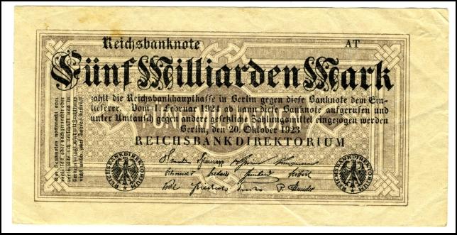 BANKOVEC ZA 5 000 000 000 MARK<br> 1923<br> 6,5 x 13,0 cm<br> Inv. št.: Nm 5964