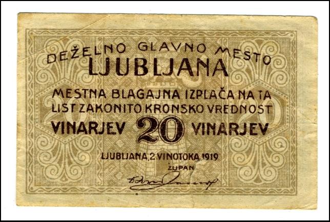 BANKOVEC - BON - ZA 20 VINARJEV<br> 1919<br> 4,7 X 7,2 cm<br> Inv. št.: Nm 5977