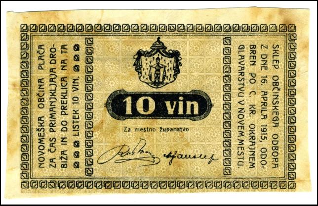 BANKOVEC - BON - ZA 10 VINARJEV<br> 1915<br> 6 X 10 cm<br> Inv. št.: Nm 5994