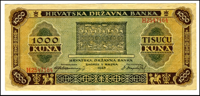 BANKOVEC ZA 1000 KUN<br> 1943<br> 8 X 17,6 cm<br> Inv. št.: Nm 6002