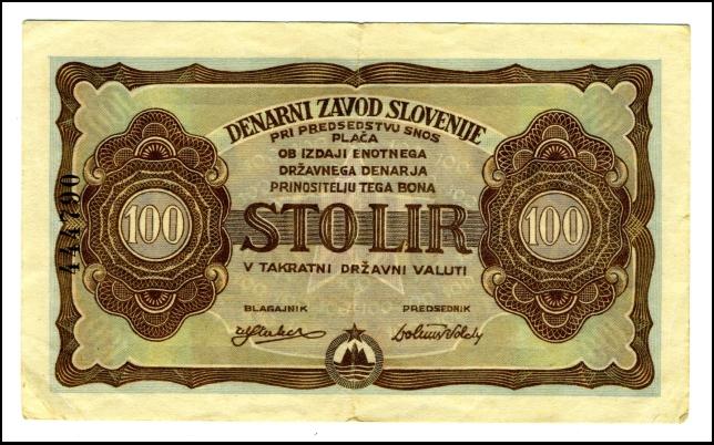 BANKOVEC - BON - ZA 100 LIR<br> 1944<br> 7,2 x 12 cm<br> Inv. št.: Nm 6010