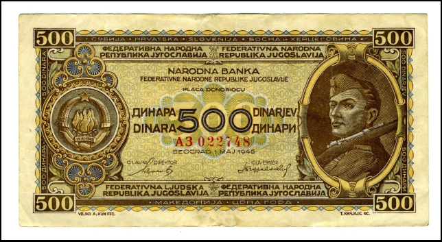 BANKOVEC ZA 500 DINARJEV<br> 1946<br> 7,5C X 14,3 cm<br> Inv. št.: Nm 6026