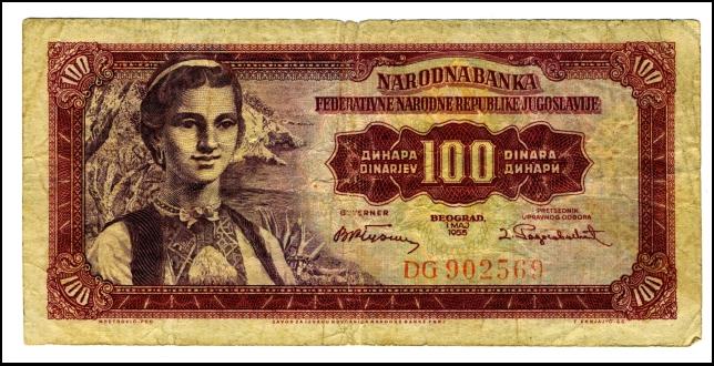 BANKOVEC ZA 100 DINARJEV<br> Inv. št.: Nm 6043