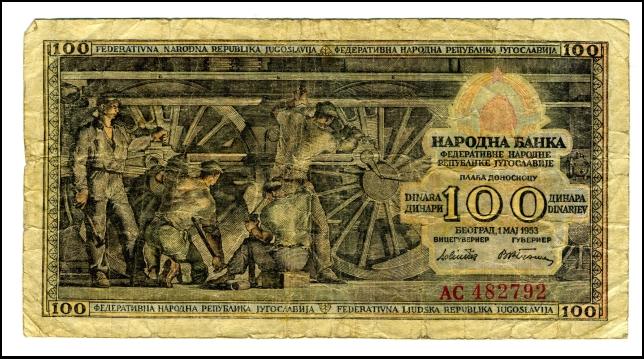 BANKOVEC ZA 100 DINARJEV<br> Inv. št: Nm 6042