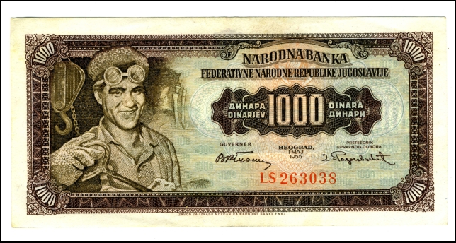 BANKOVEC ZA 1000 DINARJEV<br> Inv. št.: Nm 6045