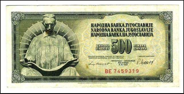 BANKOVEC ZA 500 DINARJEV<br> Inv. št.: Nm 6052