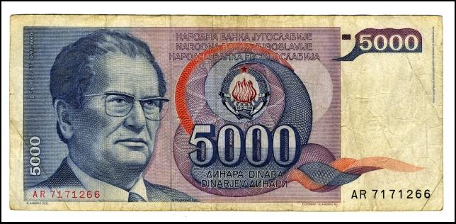 BANKOVEC ZA 5000 DINARJEV<br> Inv. št.: Nm 6054