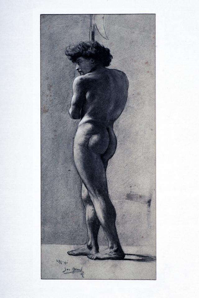 JOSIP GERM: ŠTUDIJA MOŠKEGA AKTA<br>1891<br>Črna kreda; 29,8 x 12,3 cm<br>Sign. In dat. L. sp.: 29/1 91 Jos. Germ<br>Inv. št.: U386