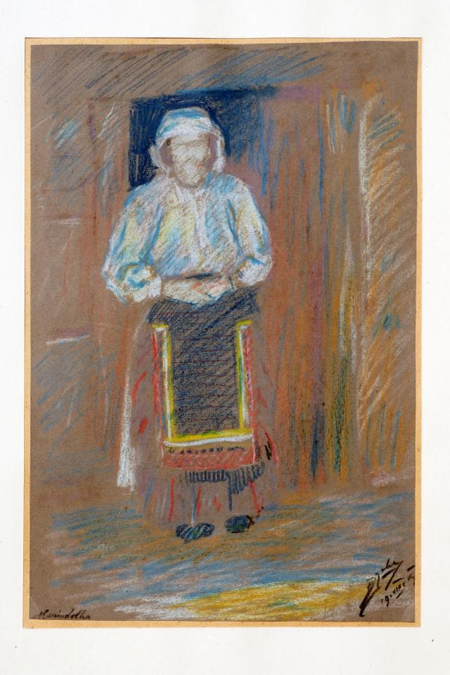 BOŽIDAR JAKAC: MARINDOLKA<br>1919<br>Pastel; 50,5 x 35,5 cm<br>Sign. in dat. d. sp.: B Jakac/19. VIII. 19<br>Inv. št.: 800