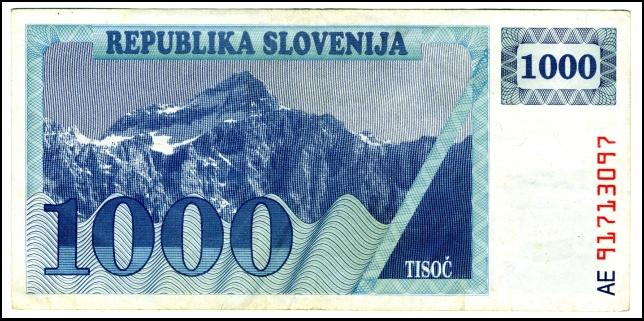 BANKOVEC - BON - REPUBLIKA SLOVENIJA 1000<br> Inv. št.: Nm 6071