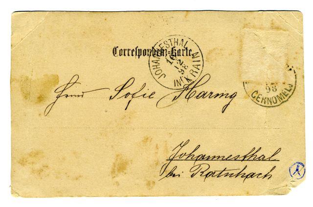 RAZGLEDNICA ČRNOMLJA<br> okoli leta 1895, Črnomelj<br> 9 x 14,3 cm<br> Inv. št.: R 10<br> <br> <br> Razglednica je bila napisana in odposlana 15. decembra 1898 iz Črnomlja v Johannesthall (Šentjanž) na Kranjskem. tja je prispela naslednji dan. Založnik te fotografske razglednice ni znan.