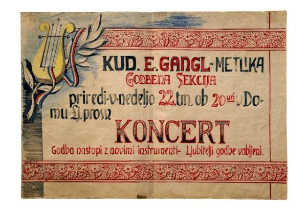 KONCERT<br> Metlika, 22. 4. 1951, KUD Engelbert Gangl – Godbena sekcija<br> Inv. št. PL 263