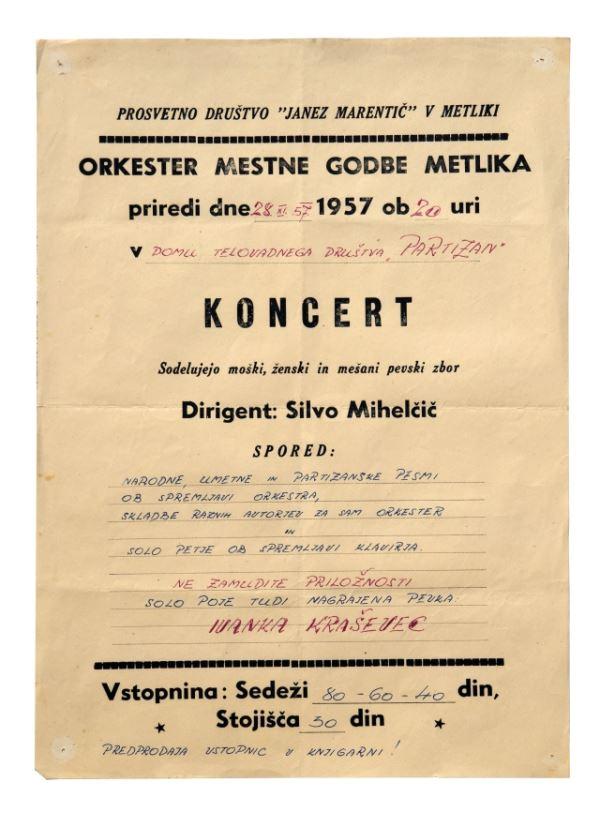 KONCERT<br>Metlika, 28. 11. 1957, Prosvetno društvo Janez Marentič – Orkester mestne godbe<br>Inv. št. PL 265