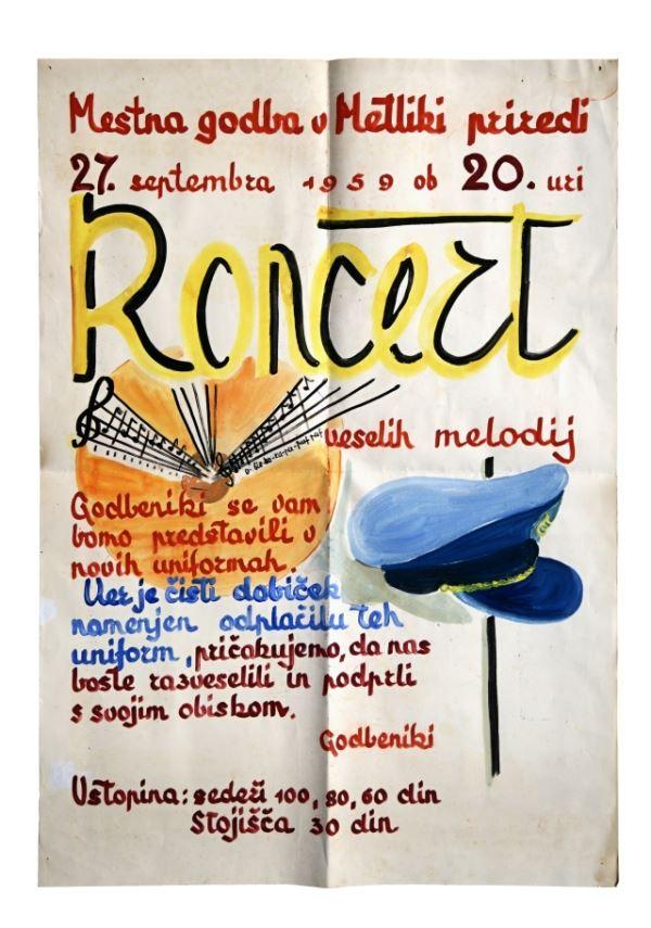 KONCERT veselih melodij<br>Metlika, 27. 9. 1959, Mestna godba v Metliki<br>Inv. št. PL 267