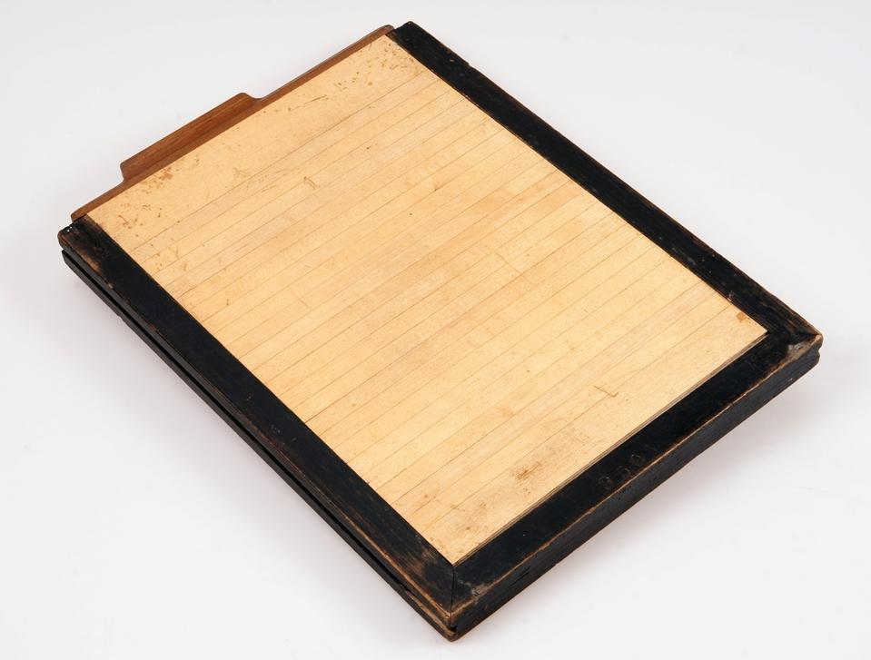 Fotografska kaseta za steklene plošče, serijska št. 2506 (1/2)<br>izdelovalec: Josef Wanaus & Co / Kunsttischlerei, Dunaj, okoli leta 1895<br>inv. št.: Z 6895
