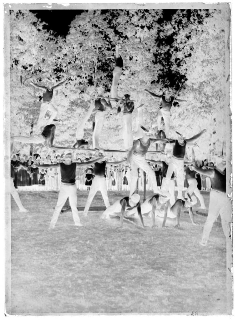 Telovadni nastop članov Sokola - živa slika<br>Metlika, Ivčev vrt, 4. 7. 1909, negativ na stekleni plošči, 17,9 x 12,9 cm<br>inv. št.: Ns 203