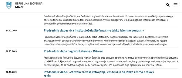 Tako so celo na uradni spletni strani vlade prikrili oziroma zamolčali udeležbo Marjana Šarca na kongresu PSS - 24. oktobra 2019.