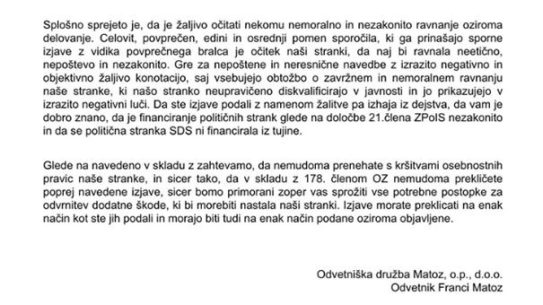 Iz dopisa odvetnika Francija Matoza, poslanega Marjanu Šarcu ...
