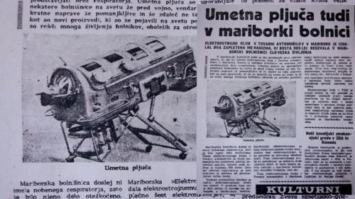 Foto: Radio Maribor/Stane Kocutar:  Položaj bolnika v respiratorju, ki so ga leta 1959 izdelali v Tovarni avtomobilov Maribor (TAM). Fotografija časopisnega članka iz zapuščine očeta poslušalke Milene