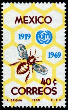 Bee & honeycomb stamp designed by A. Brisha & issued by Mexico, 1969 .