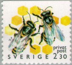 Sweden 1990 Stamp: European Honey Bee (Apis mellifera) (Sweden) (Beekeeping - Discount Stamps) Mi:SE 1613,Sn:SE 1823,Yt:SE 1595,Sg:SE 1507,AFA:SE RM61Co,Fac:SE 1630