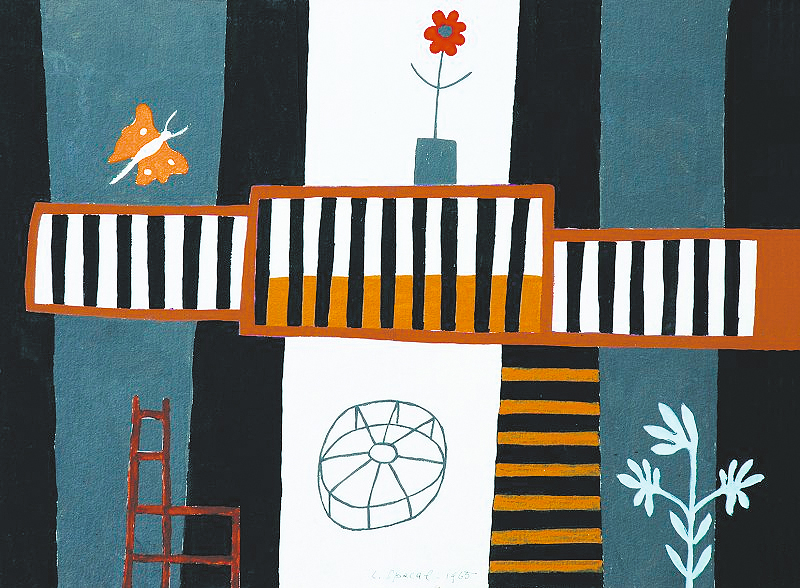 Lojze Spacal: Ganki na Krasu, tempera na papirju, 1965