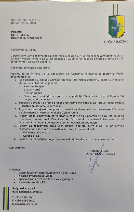 Pismo direktorju CEROP Francu Cipotu, na katerega župan občine Radenci Roman Leljak, kot eden od ustanviteljev javnega podjetja,  ni dobil odgovora