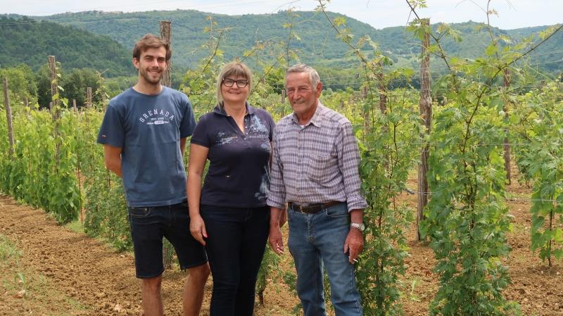 Nik, Ingrid in Gvido Mahnič v viteškem vinogradu, v katerem je tast Gvido posadil številne avtohotne in tradicionalne  sorte, te so: peteršiljka, malfašija, (bela), malega, momjanski muškat, kanarjola, cipro, sladki teran, piranski refošk, in tintorja, skupaj 1200 trt.