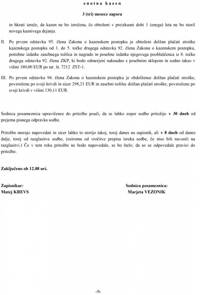 Del zapisnika z izrekom obeh sodb - na Okrožnem sodišču v Slovenij Gradcu, 14. oktobra 2020.