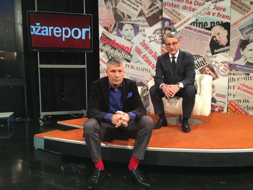 Bilo je nekoč v Sloveniji: Matjaž Han in moja malenkost pred oddajo Požareport na TV3.