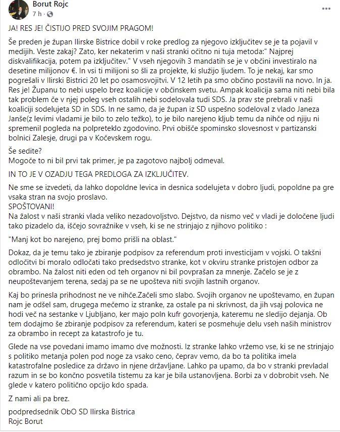 Odprto pismo Boruta Rojca, sina župana Ilirske Bistrice Emila Rojca, ki ga Tanja Fajon meče ven iz stranke SD. (vir: Facebook)