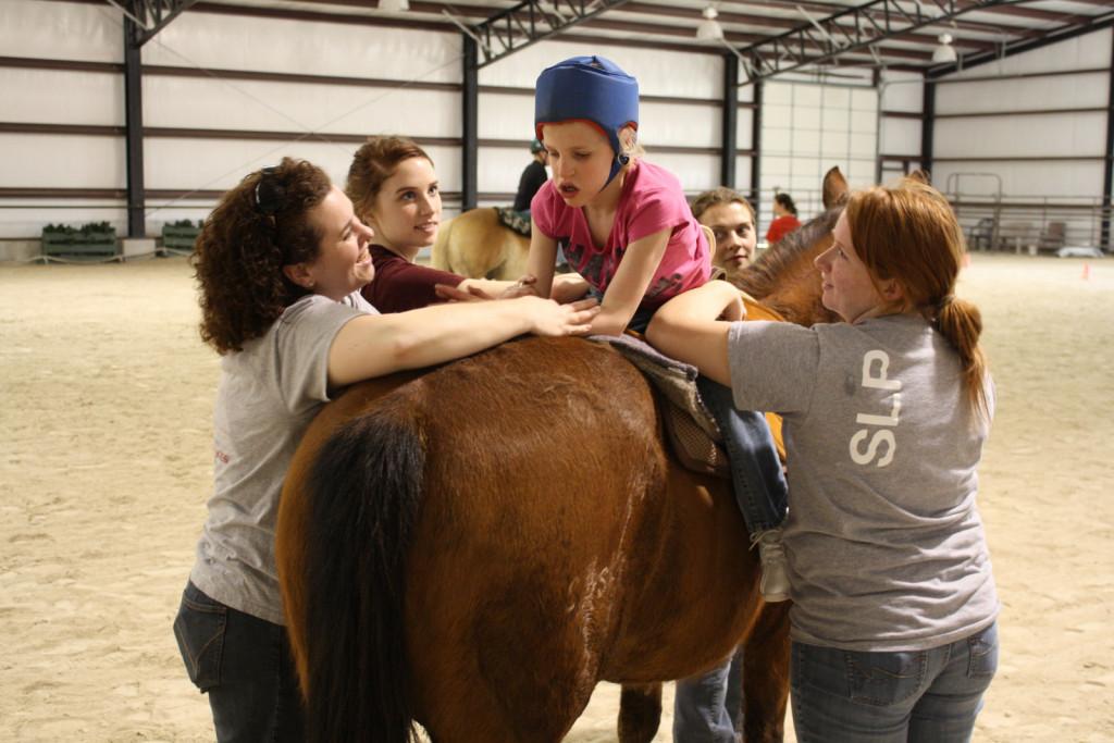 Med hipoterapijo prenaša konj na hrbtu jahača, ki ni treniran in s svojimi impulzi moti konja.