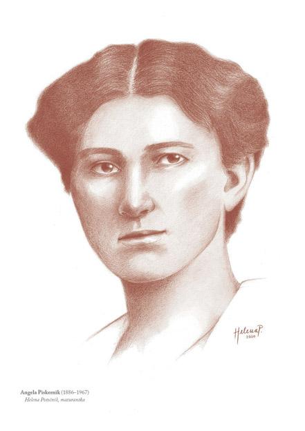 Helena je narisala tudi dve ženski, na sliki je prva doktorica znanosti Angela Piskernik