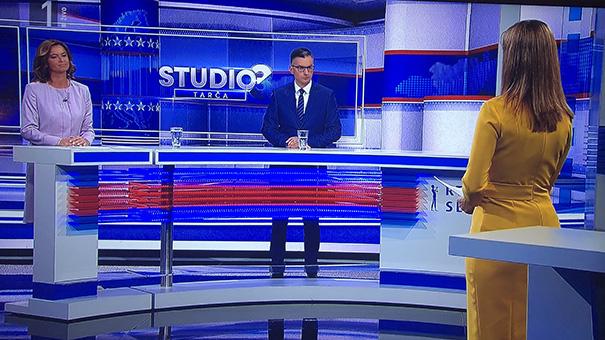 Tanja Fajon, Marjan Šarec in Erika Žnidaršič med včerajšnjo Tarčo na TV Slovenija