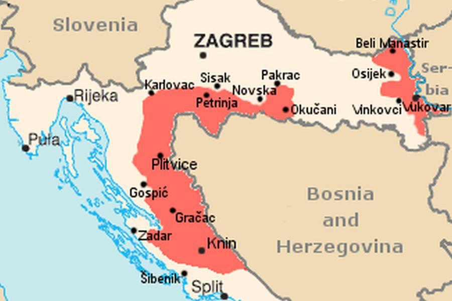Zaskrbljujoče so se zaostrovale razmere na Hrvaškem v samooklicani SAO Krajini (označeno z rdečo), kjer je potekal referendum o priključitvi k Srbiji. | Avtor Wikipedia