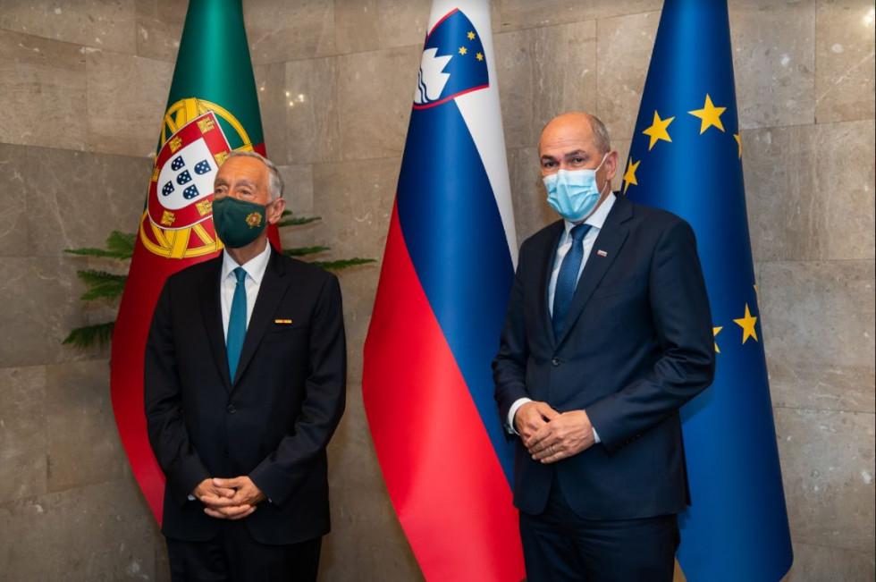 Predsednik vlade Janez Janša in predsednik Portugalske Marcelo Rebelo de Sousa   Avtor Kabinet predsednika vlade
