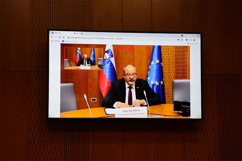 Predsednik Državnega sveta Alojz Kovšca se je na povabilo predsednika estonskega parlamenta Jürija Ratasa udeležil prvega Parlamentarnega foruma pobude Tri morja (3SI), ki je potekal v obliki videokonference (Foto: Milan Skledar)