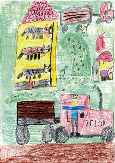 Erik Štupar pa je narisal, kaj dela kmet na kmetiji.