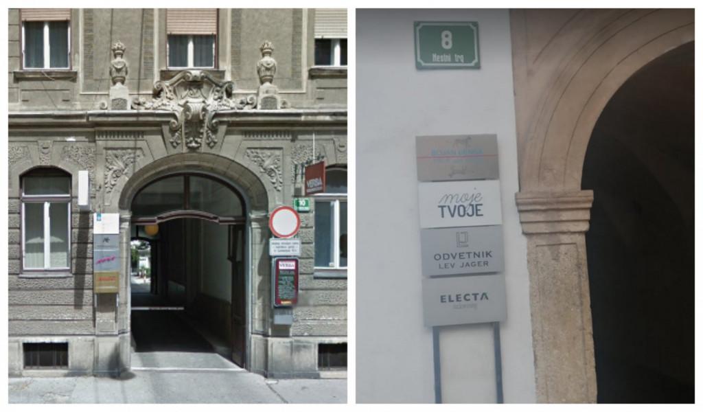 Zoran, kjer se je ustanovila Electa? Na Cankarjevi 10 ali Mestni trg 8? (Foto: Luka Perš, posnetek zaslona-Google maps)