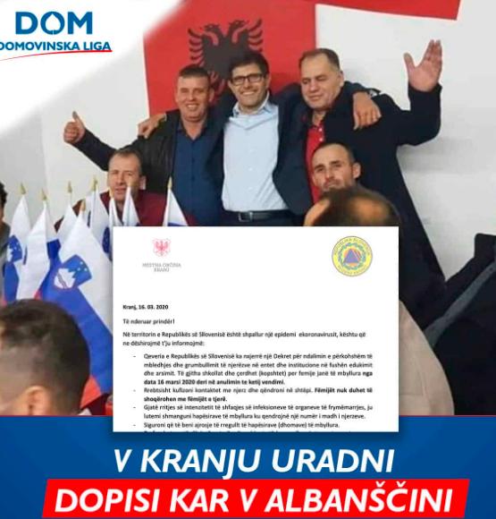 Dopis iz Osnovne šole Jakoba Aljaža v Kranju v albanskem jeziku. (Foto: Posnetek zaslona-Domovinska liga (DOM))
