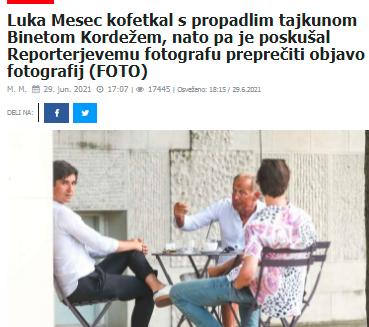 Članek v Reviji Reporter, kjer so ujeli koordinatorja Levice Luko Mesca na kavi z razvpitim obsojenim tajkunom Binetom Kordežem. (Foto: Posnetek zaslona- Reporter)