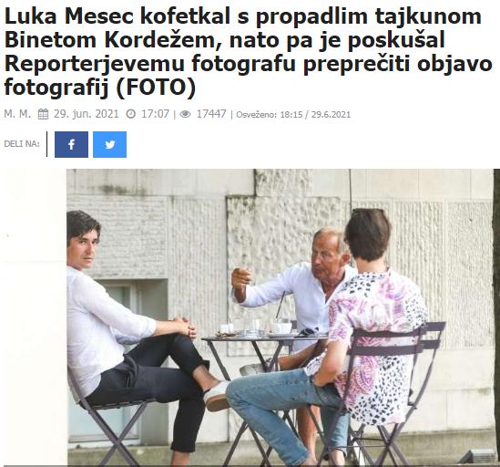 Luka Mesec in Bine Kordež na kavi. (Foto: Posnetek zaslona- Reporter)