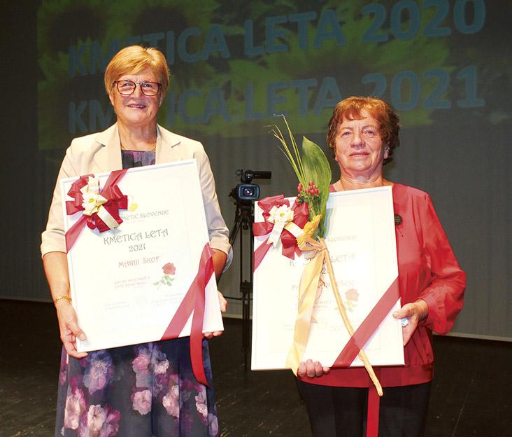 Marija Škof, kmetica leta 2021, in Marija Lamovšek, kmetica leta 2020