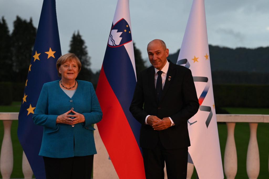 Janša in Angela Merkel
