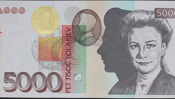 Slovenija je uvedla novo valuto tolar, na sliki bankovci različnih vrednosti | Avtor spletni vir