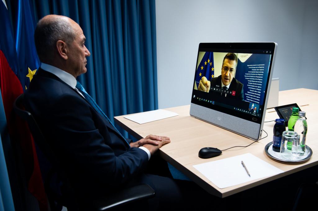Predsednik vlade Janez Janša na plenarnem zasedanju Evropskega odbora regij | Avtor KPV